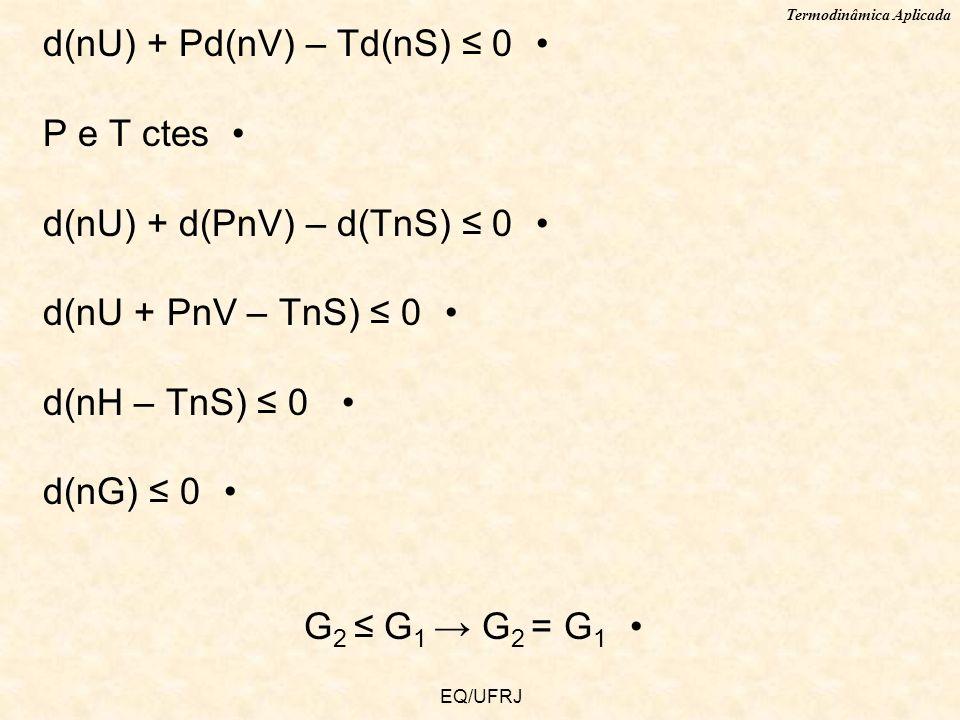 Termodinâmica Aplicada EQ/UFRJ d(nU) + Pd(nV) – Td(nS) 0 P e T ctes d(nU) + d(PnV) – d(TnS) 0 d(nU + PnV – TnS) 0 d(nH – TnS) 0 d(nG) 0 G 2 G 1 G 2 =