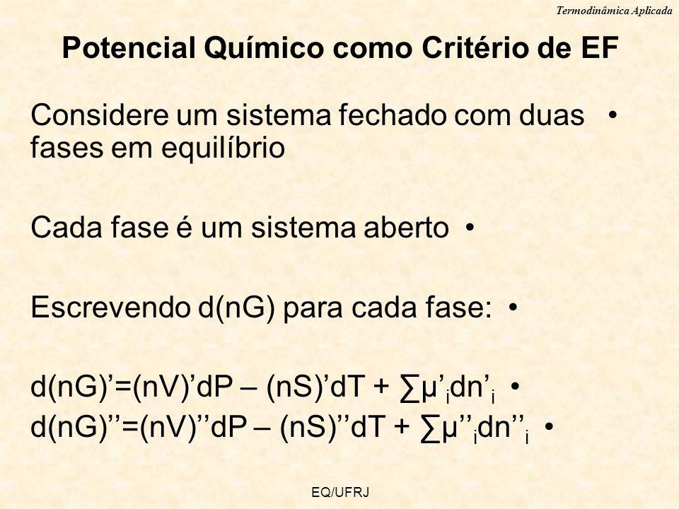 Termodinâmica Aplicada EQ/UFRJ Potencial Químico como Critério de EF Considere um sistema fechado com duas fases em equilíbrio Cada fase é um sistema