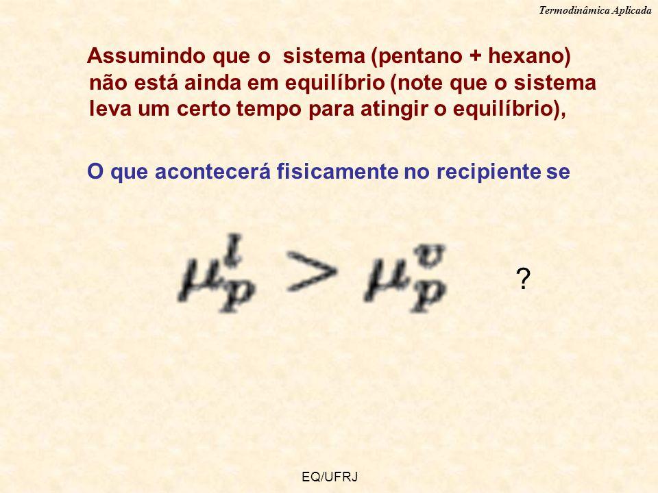 Termodinâmica Aplicada EQ/UFRJ Assumindo que o sistema (pentano + hexano) não está ainda em equilíbrio (note que o sistema leva um certo tempo para at