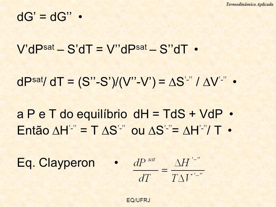 Termodinâmica Aplicada EQ/UFRJ dG = dG VdP sat – SdT = VdP sat – SdT dP sat / dT = (S-S)/(V-V) = S - / V - a P e T do equilíbrio dH = TdS + VdP Então