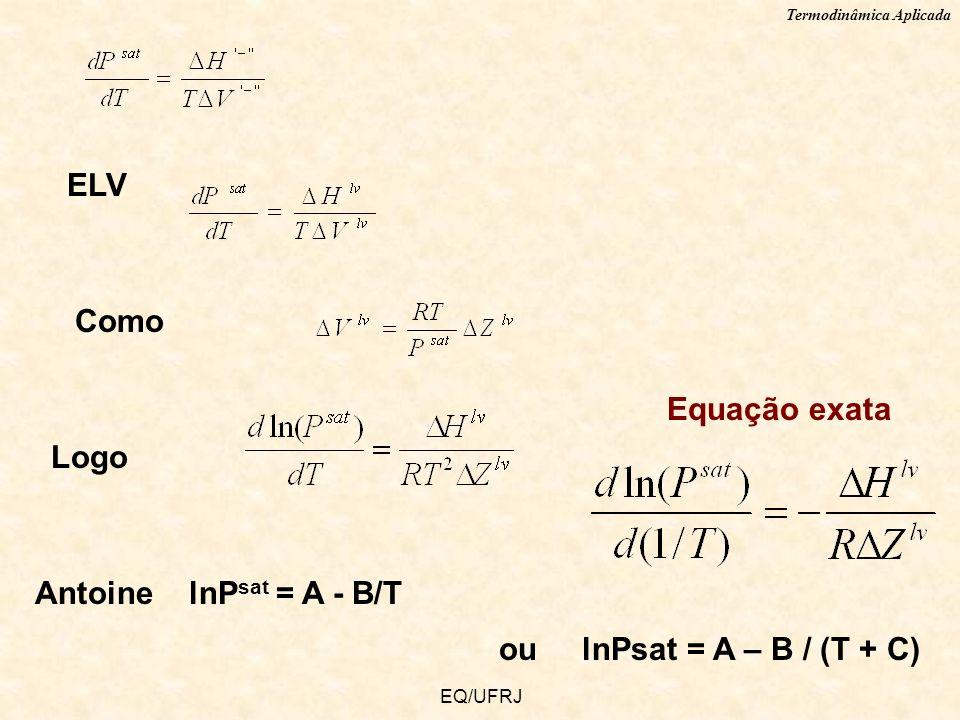 Termodinâmica Aplicada EQ/UFRJ ELV Como Logo Equação exata Antoine lnP sat = A - B/T ou lnPsat = A – B / (T + C)