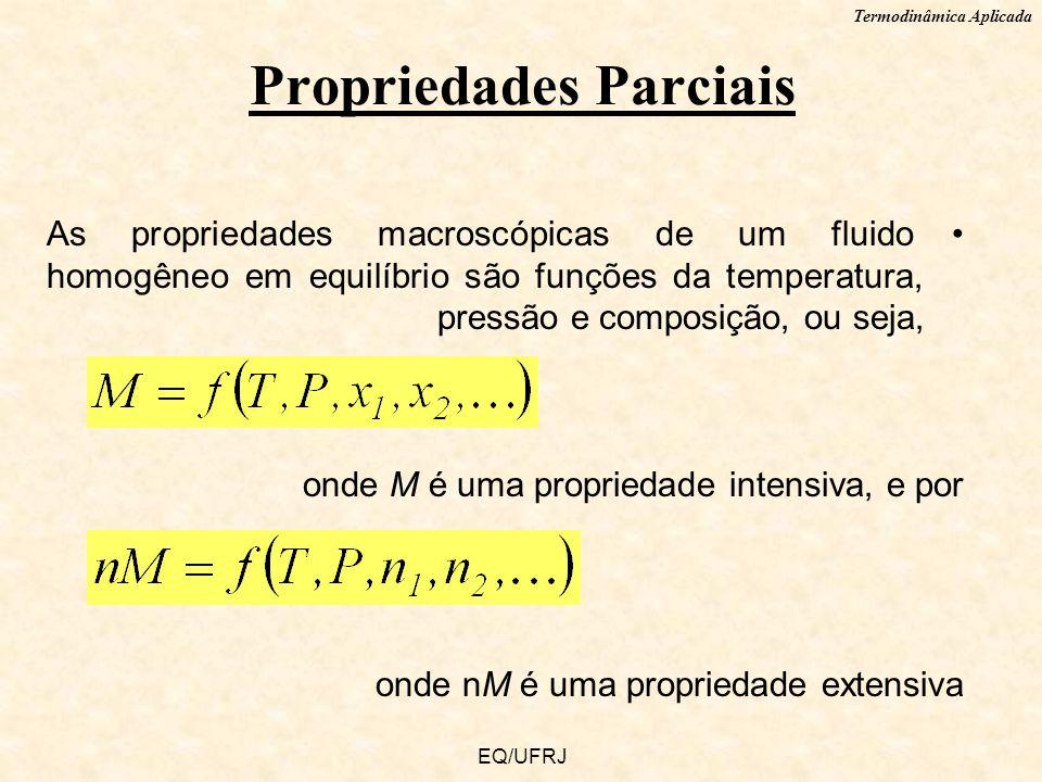 Termodinâmica Aplicada EQ/UFRJ As propriedades macroscópicas de um fluido homogêneo em equilíbrio são funções da temperatura, pressão e composição, ou