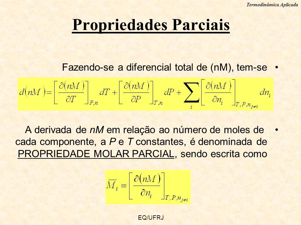 Termodinâmica Aplicada EQ/UFRJ Fazendo-se a diferencial total de (nM), tem-se A derivada de nM em relação ao número de moles de cada componente, a P e