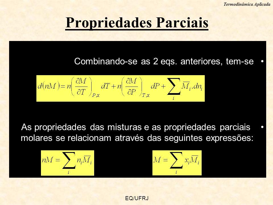 Termodinâmica Aplicada EQ/UFRJ Combinando-se as 2 eqs. anteriores, tem-se As propriedades das misturas e as propriedades parciais molares se relaciona