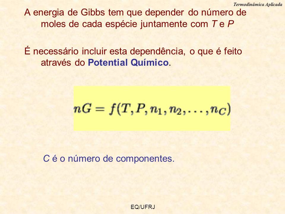 Termodinâmica Aplicada EQ/UFRJ A energia de Gibbs tem que depender do número de moles de cada espécie juntamente com T e P É necessário incluir esta d