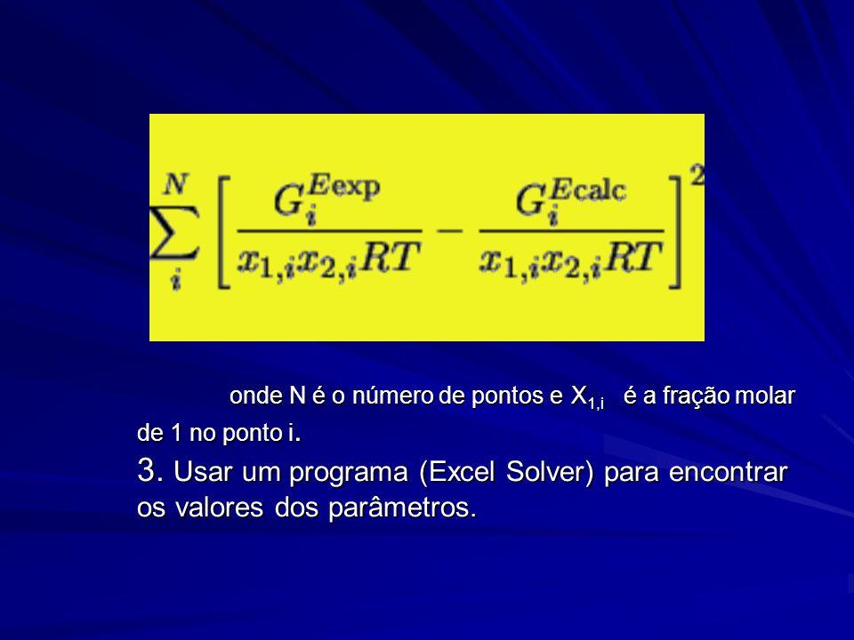 onde N é o número de pontos e X 1,i é a fração molar de 1 no ponto i. 3. Usar um programa (Excel Solver) para encontrar os valores dos parâmetros. ond