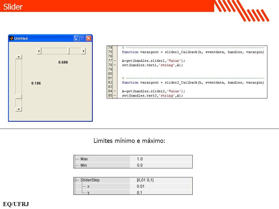 Limites mínimo e máximo: Slider EQ/UFRJ