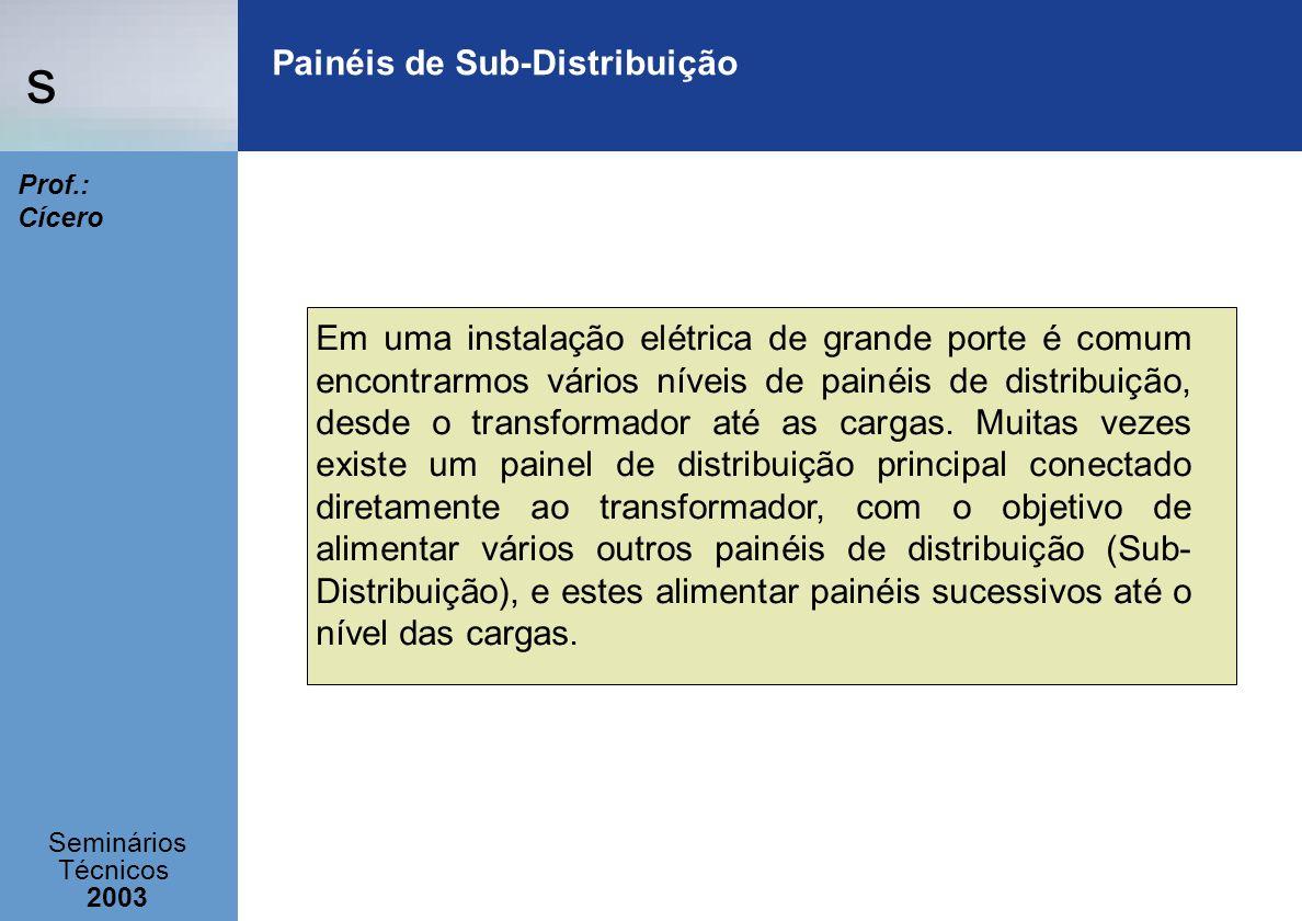 s Seminários Técnicos 2003 Prof.: Cícero Painéis de Sub-Distribuição Em uma instalação elétrica de grande porte é comum encontrarmos vários níveis de