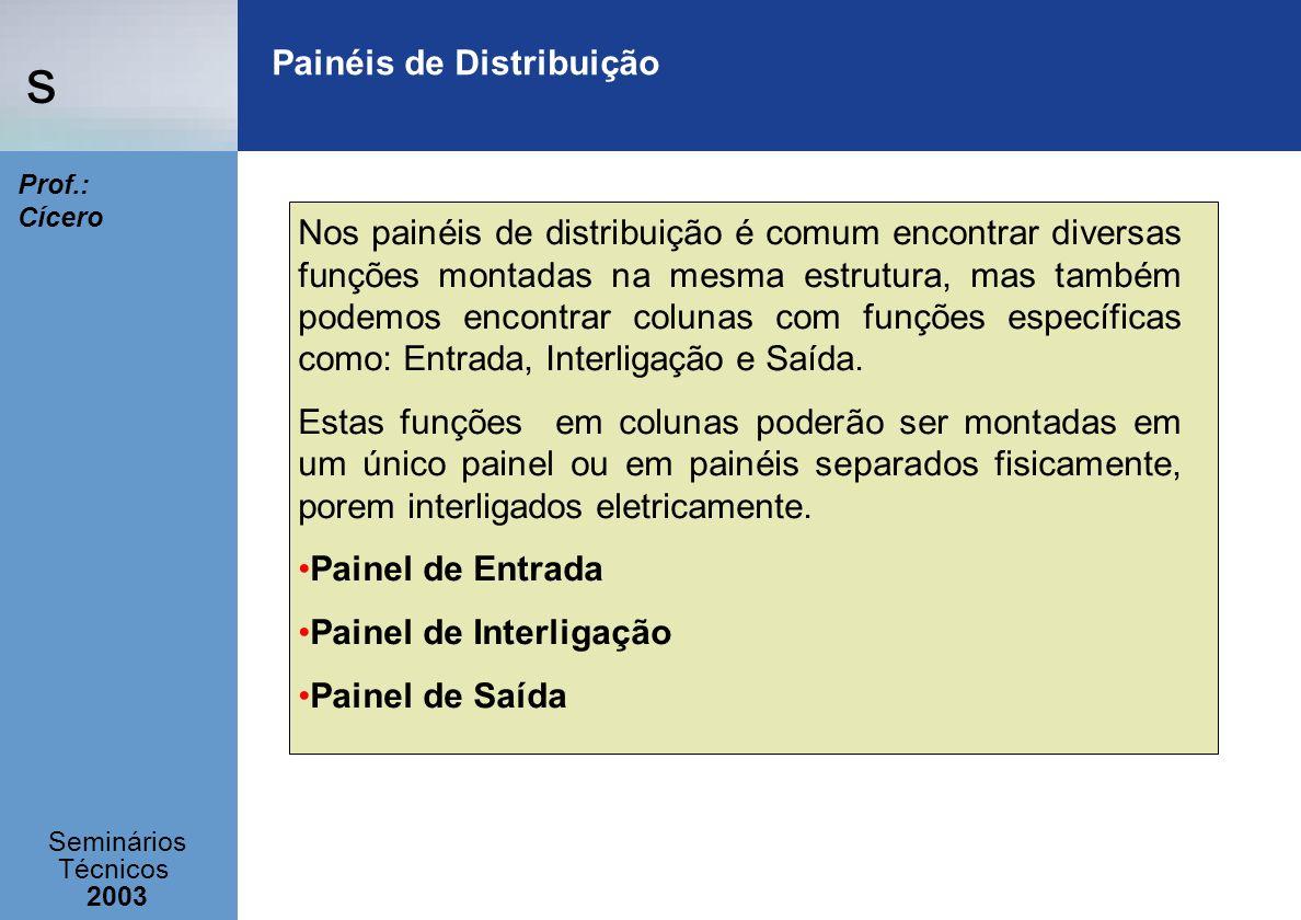 s Seminários Técnicos 2003 Prof.: Cícero Painéis de Distribuição Nos painéis de distribuição é comum encontrar diversas funções montadas na mesma estr