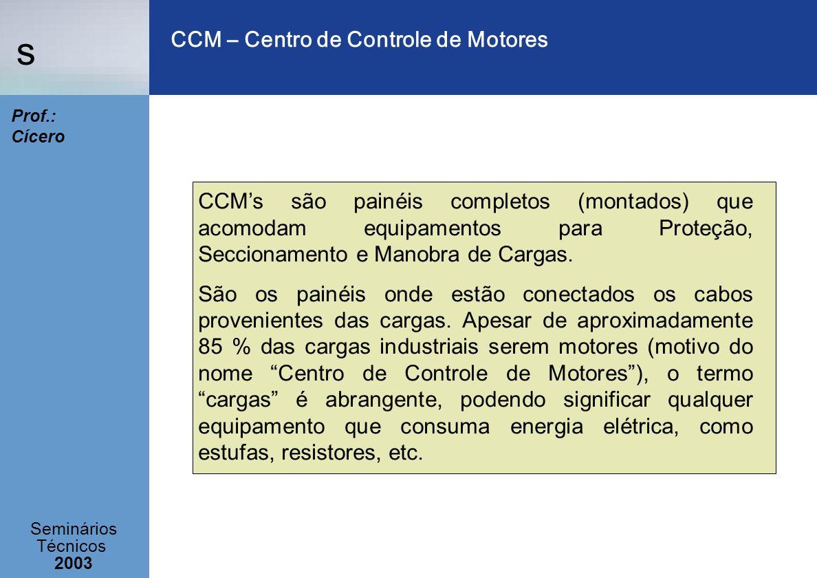 s Seminários Técnicos 2003 Prof.: Cícero CCM – Centro de Controle de Motores CCMs são painéis completos (montados) que acomodam equipamentos para Prot
