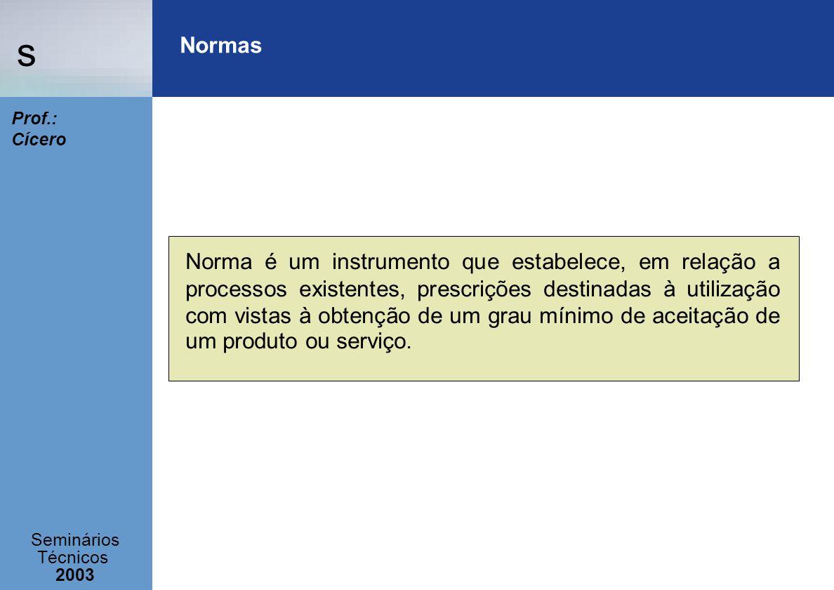 s Seminários Técnicos 2003 Prof.: Cícero Normas Norma é um instrumento que estabelece, em relação a processos existentes, prescrições destinadas à uti