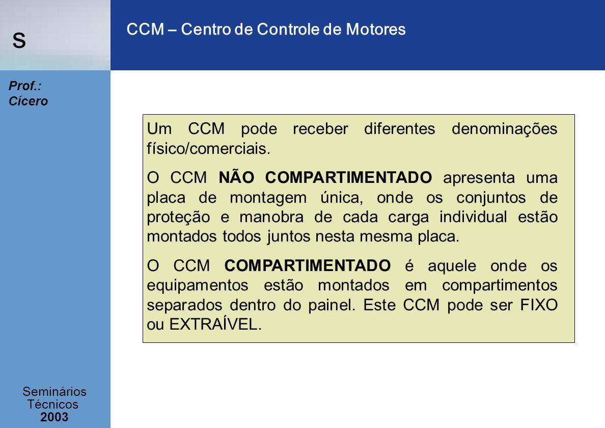 s Seminários Técnicos 2003 Prof.: Cícero CCM – Centro de Controle de Motores Um CCM pode receber diferentes denominações físico/comerciais. O CCM NÃO