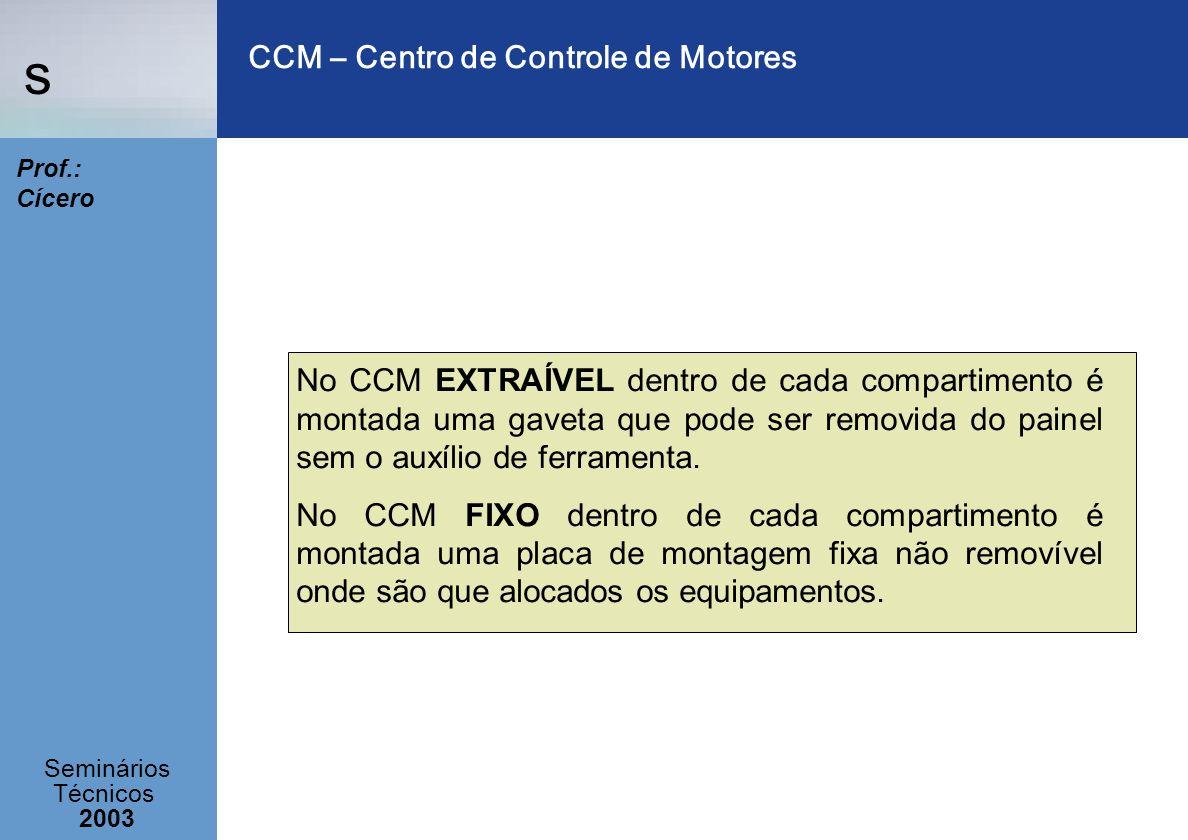 s Seminários Técnicos 2003 Prof.: Cícero CCM – Centro de Controle de Motores No CCM EXTRAÍVEL dentro de cada compartimento é montada uma gaveta que po
