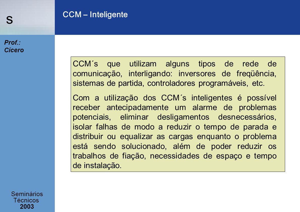 s Seminários Técnicos 2003 Prof.: Cícero CCM – Inteligente CCM´s que utilizam alguns tipos de rede de comunicação, interligando: inversores de freqüên