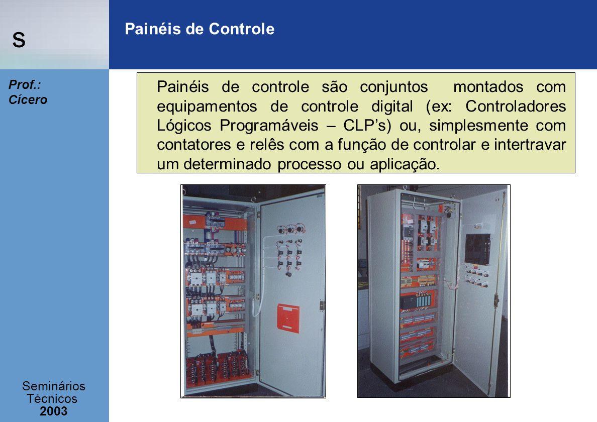 s Seminários Técnicos 2003 Prof.: Cícero Painéis de Controle Painéis de controle são conjuntos montados com equipamentos de controle digital (ex: Cont