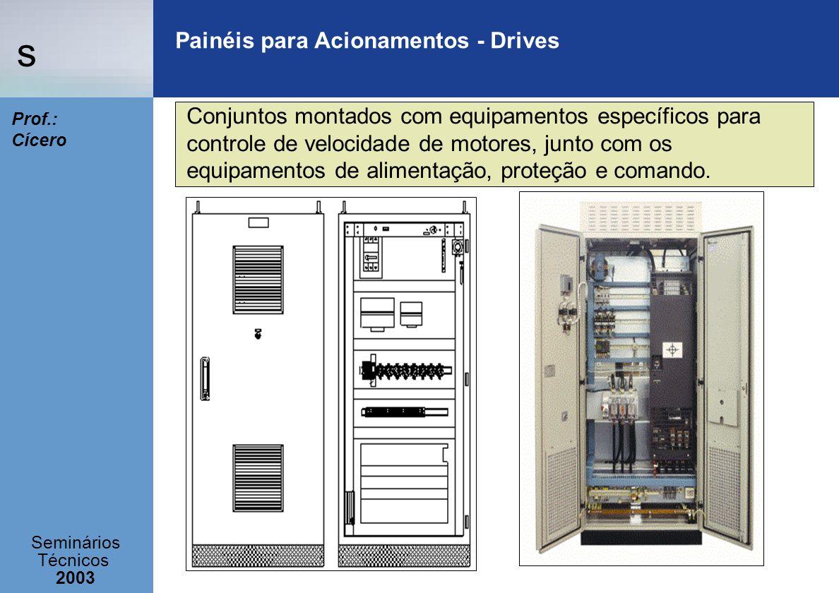s Seminários Técnicos 2003 Prof.: Cícero Painéis para Acionamentos - Drives Conjuntos montados com equipamentos específicos para controle de velocidad