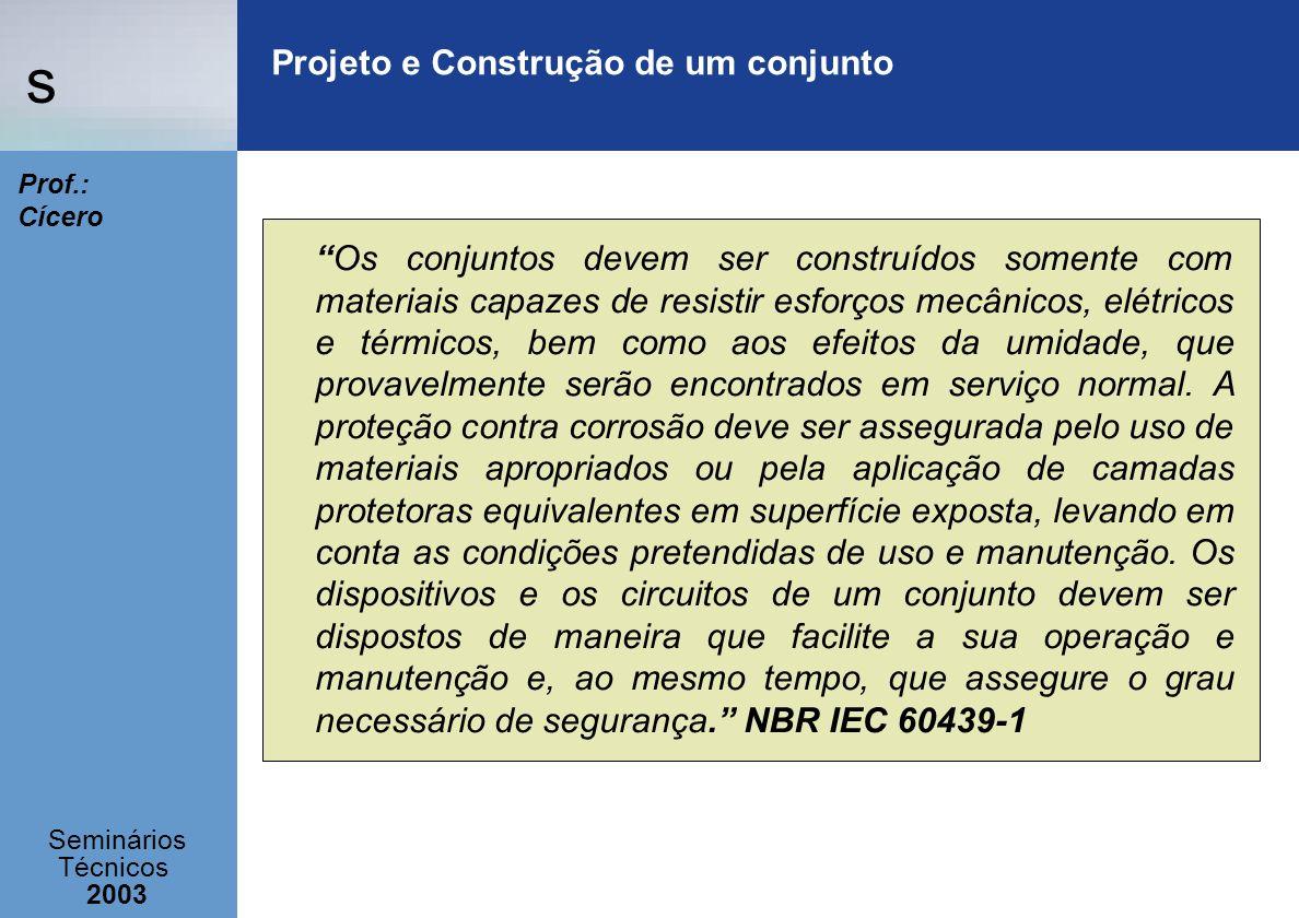 s Seminários Técnicos 2003 Prof.: Cícero Projeto e Construção de um conjunto Os conjuntos devem ser construídos somente com materiais capazes de resis