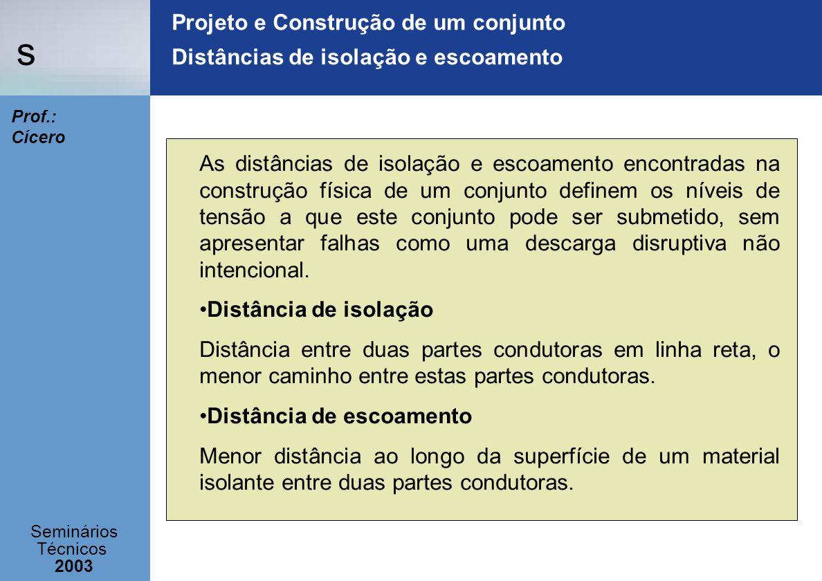 s Seminários Técnicos 2003 Prof.: Cícero Projeto e Construção de um conjunto Distâncias de isolação e escoamento As distâncias de isolação e escoament