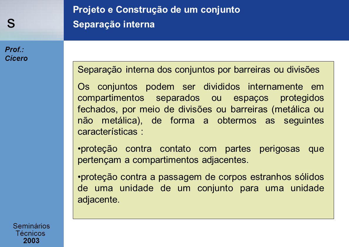 s Seminários Técnicos 2003 Prof.: Cícero Projeto e Construção de um conjunto Separação interna Separação interna dos conjuntos por barreiras ou divisõ