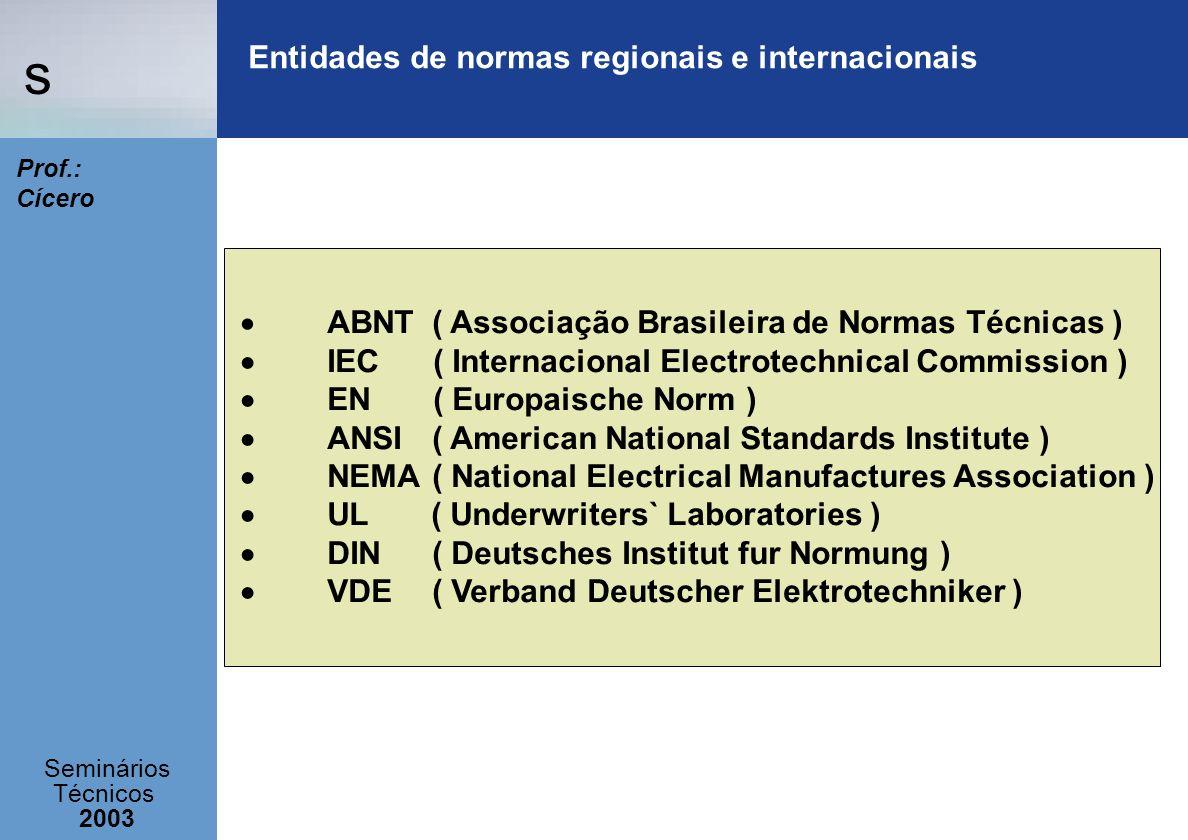s Seminários Técnicos 2003 Prof.: Cícero Entidades de normas regionais e internacionais ABNT ( Associação Brasileira de Normas Técnicas ) IEC ( Intern