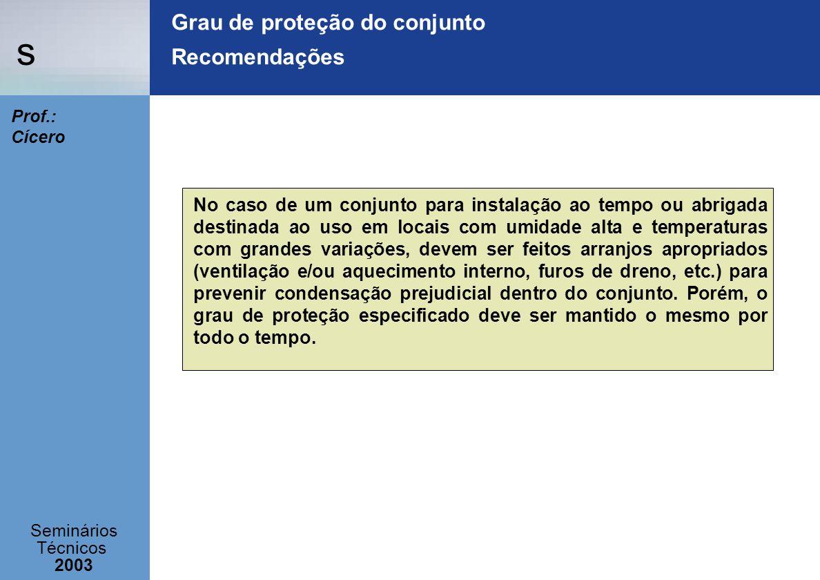 s Seminários Técnicos 2003 Prof.: Cícero Grau de proteção do conjunto Recomendações No caso de um conjunto para instalação ao tempo ou abrigada destin