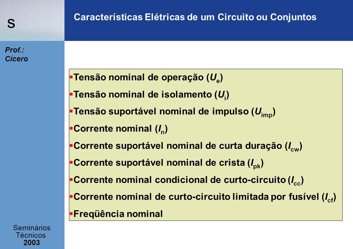 s Seminários Técnicos 2003 Prof.: Cícero Características Elétricas de um Circuito ou Conjuntos Tensão nominal de operação (U e ) Tensão nominal de iso