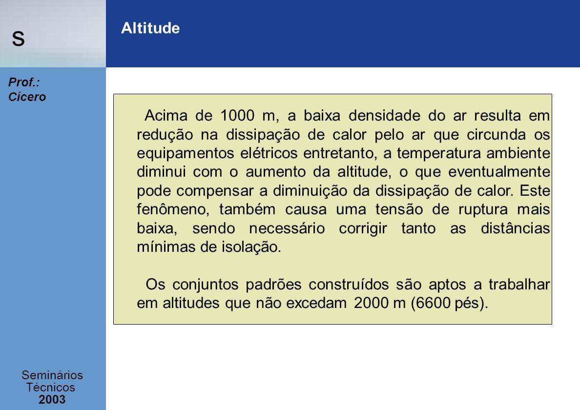 s Seminários Técnicos 2003 Prof.: Cícero Altitude Acima de 1000 m, a baixa densidade do ar resulta em redução na dissipação de calor pelo ar que circu