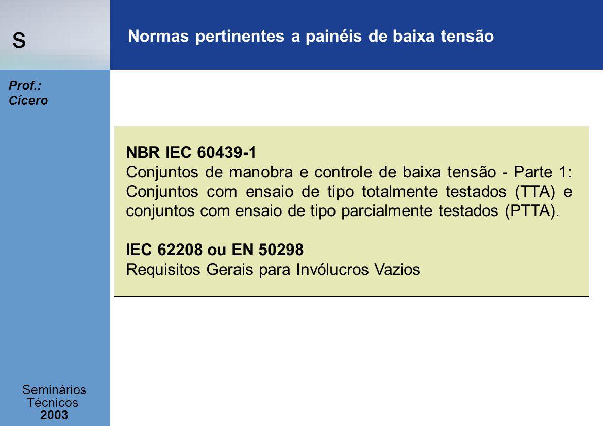s Seminários Técnicos 2003 Prof.: Cícero NBR IEC 60439-1 Conjuntos de manobra e controle de baixa tensão - Parte 1: Conjuntos com ensaio de tipo total