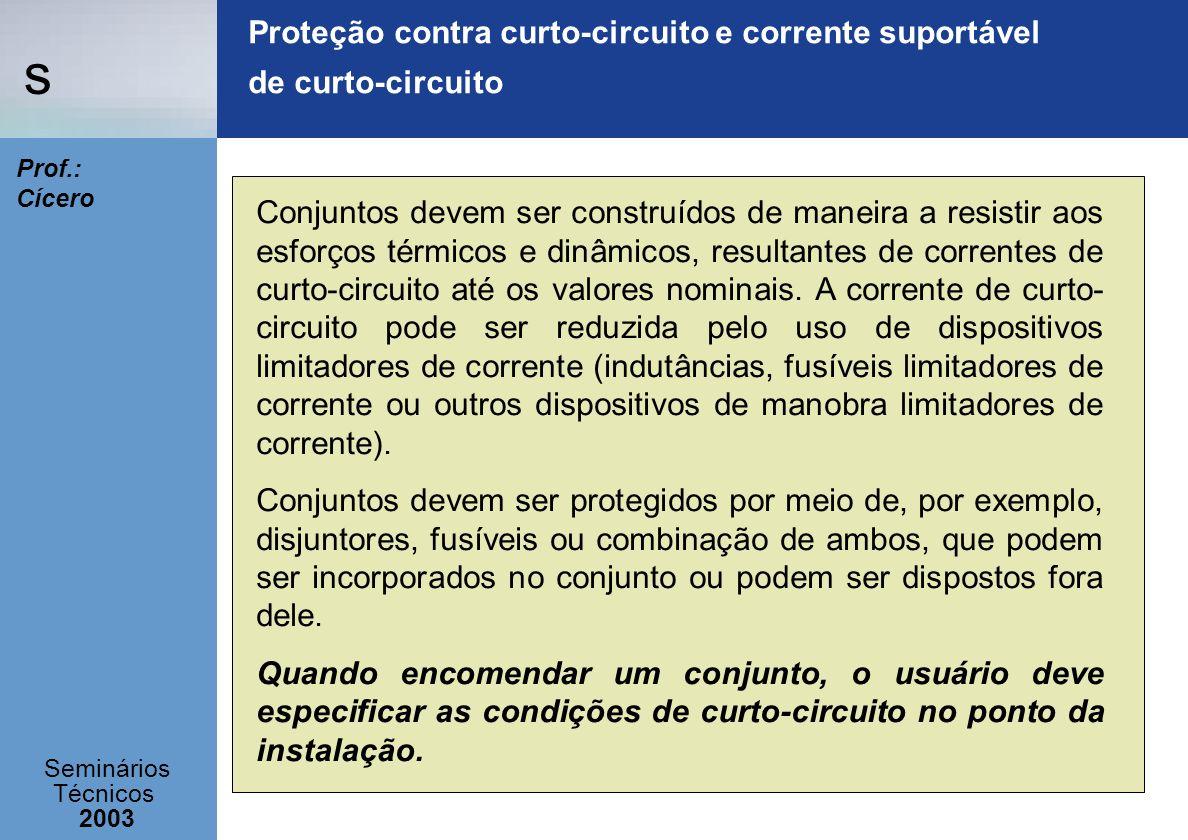 s Seminários Técnicos 2003 Prof.: Cícero Proteção contra curto-circuito e corrente suportável de curto-circuito Conjuntos devem ser construídos de man