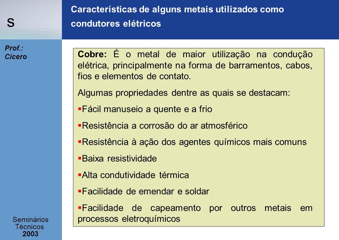 s Seminários Técnicos 2003 Prof.: Cícero Características de alguns metais utilizados como condutores elétricos Cobre: É o metal de maior utilização na