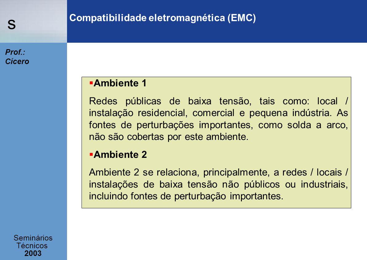 s Seminários Técnicos 2003 Prof.: Cícero Compatibilidade eletromagnética (EMC) Ambiente 1 Redes públicas de baixa tensão, tais como: local / instalaçã