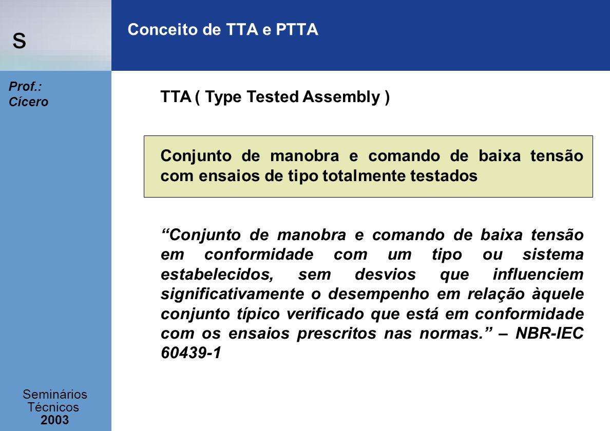 s Seminários Técnicos 2003 Prof.: Cícero Conceito de TTA e PTTA PTTA ( Partially Type Tested Assembly) Conjunto de manobra e comando de baixa tensão com ensaios de tipo parcialmente testados Conjunto de manobra e comando de baixa tensão contendo disposições de tipo ensaiado e disposições de tipo não ensaiado, contanto que o último é derivado (por exemplo, por meio de cálculo) de disposições de tipo ensaiado que satisfizeram os ensaios pertinentes.