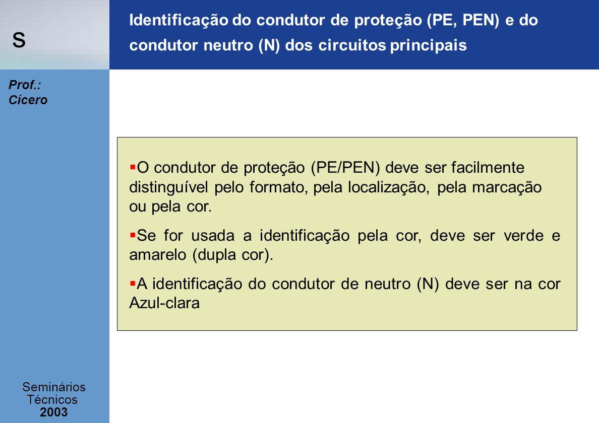 s Seminários Técnicos 2003 Prof.: Cícero Identificação do condutor de proteção (PE, PEN) e do condutor neutro (N) dos circuitos principais O condutor