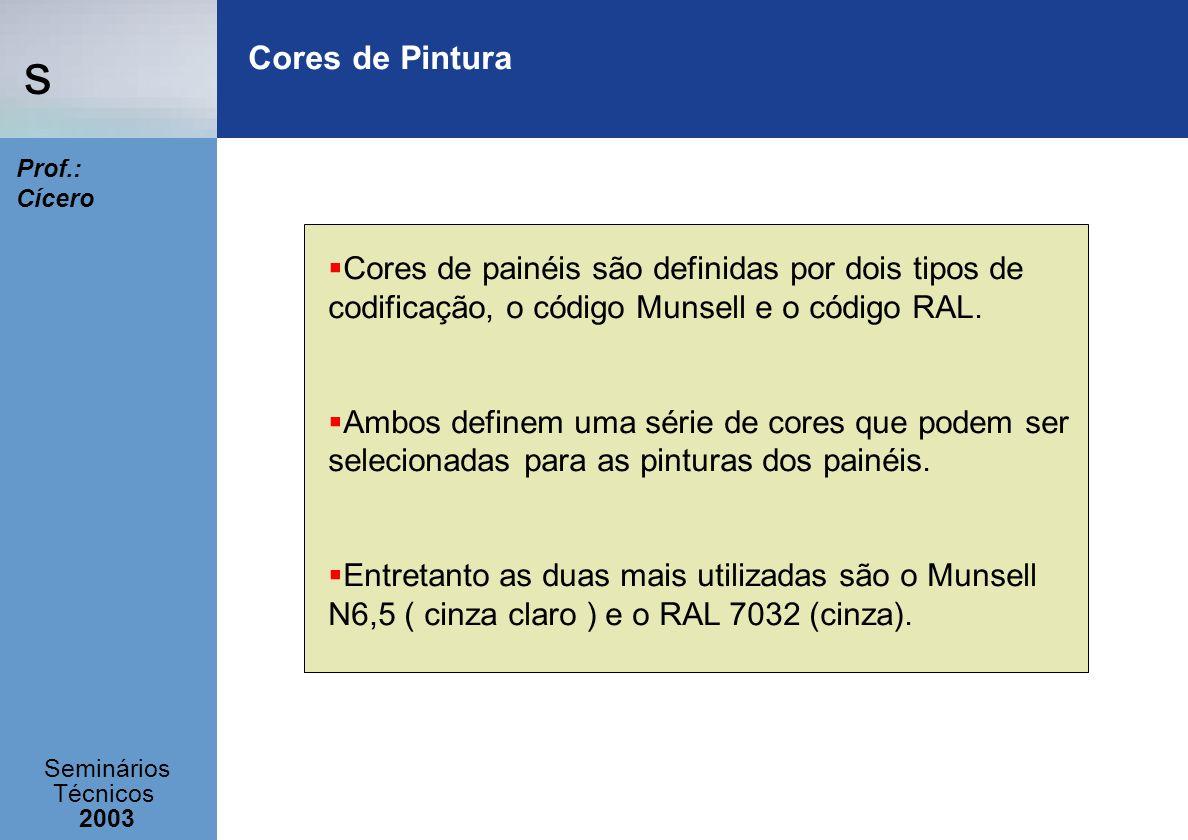 s Seminários Técnicos 2003 Prof.: Cícero Cores de Pintura Cores de painéis são definidas por dois tipos de codificação, o código Munsell e o código RA
