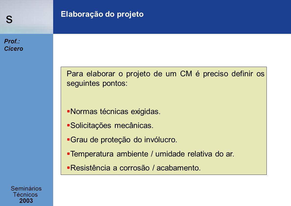s Seminários Técnicos 2003 Prof.: Cícero Elaboração do projeto Para elaborar o projeto de um CM é preciso definir os seguintes pontos: Normas técnicas