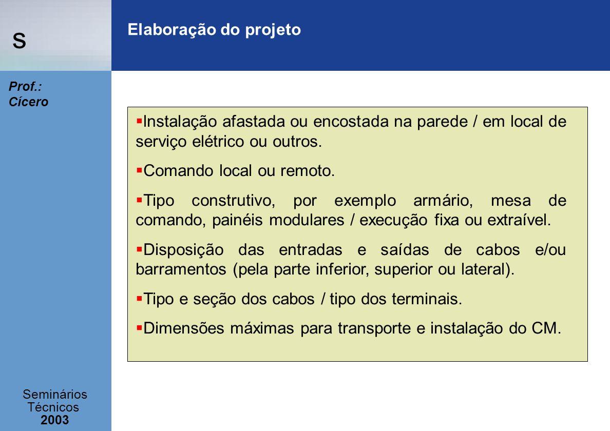 s Seminários Técnicos 2003 Prof.: Cícero Elaboração do projeto lnstalação afastada ou encostada na parede / em local de serviço elétrico ou outros. Co