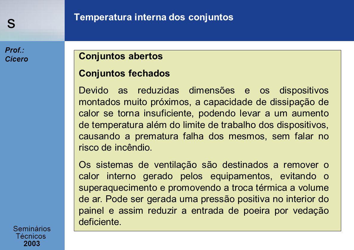 s Seminários Técnicos 2003 Prof.: Cícero Temperatura interna dos conjuntos Conjuntos abertos Conjuntos fechados Devido as reduzidas dimensões e os dis