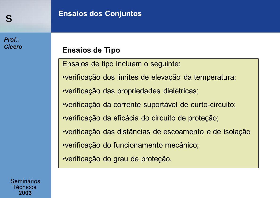 s Seminários Técnicos 2003 Prof.: Cícero Ensaios dos Conjuntos Ensaios de Tipo Ensaios de tipo incluem o seguinte: verificação dos limites de elevação