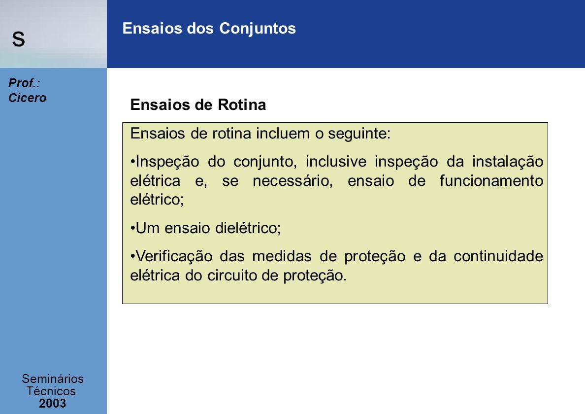 s Seminários Técnicos 2003 Prof.: Cícero Ensaios dos Conjuntos Ensaios de Rotina Ensaios de rotina incluem o seguinte: Inspeção do conjunto, inclusive