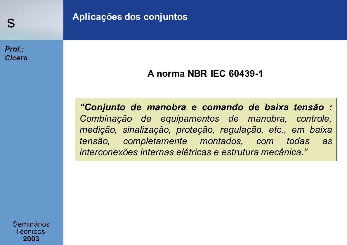 s Seminários Técnicos 2003 Prof.: Cícero Aplicações dos conjuntos A norma NBR IEC 60439-1 Conjunto de manobra e comando de baixa tensão : Combinação d