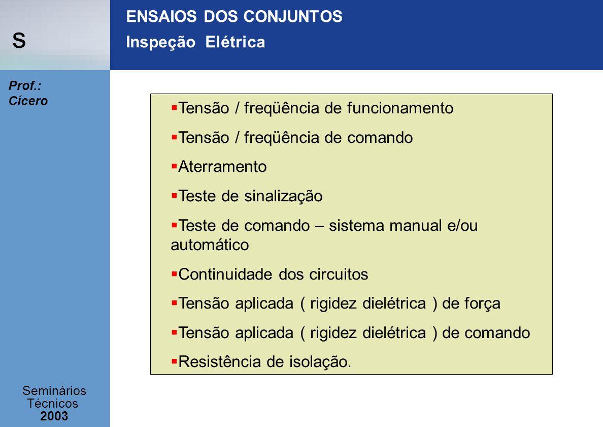 s Seminários Técnicos 2003 Prof.: Cícero ENSAIOS DOS CONJUNTOS Inspeção Elétrica Tensão / freqüência de funcionamento Tensão / freqüência de comando A