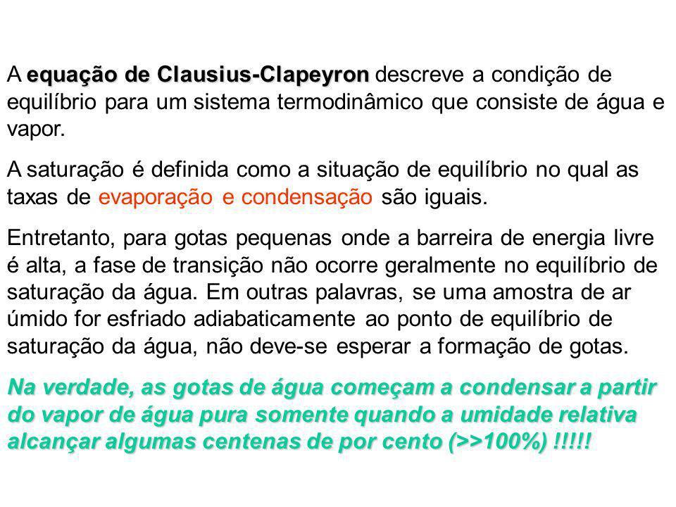 equação de Clausius-Clapeyron A equação de Clausius-Clapeyron descreve a condição de equilíbrio para um sistema termodinâmico que consiste de água e v