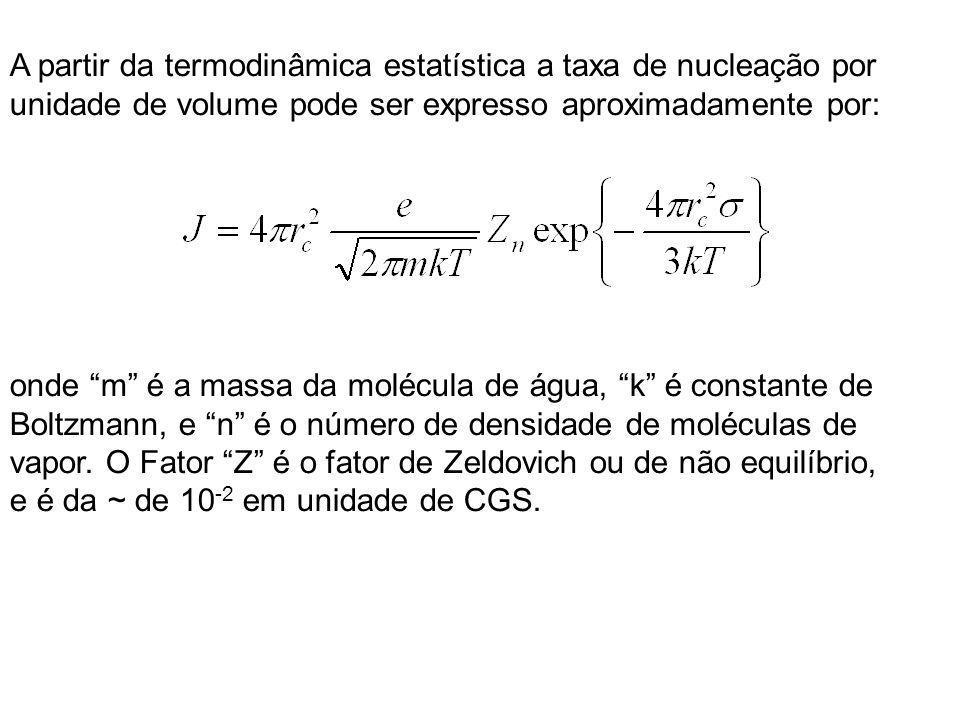 A partir da termodinâmica estatística a taxa de nucleação por unidade de volume pode ser expresso aproximadamente por: onde m é a massa da molécula de