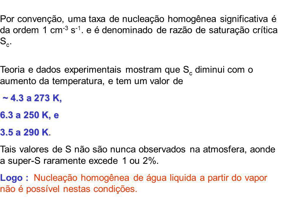 Por convenção, uma taxa de nucleação homogênea significativa é da ordem 1 cm -3 s -1. e é denominado de razão de saturação crítica S c. Teoria e dados