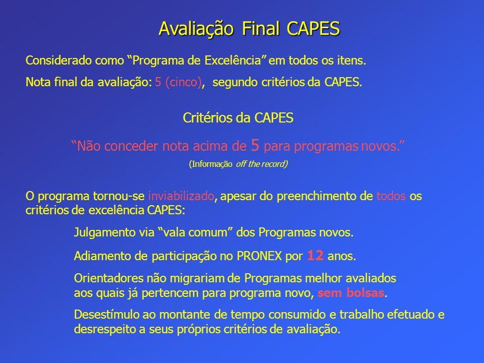 Avaliação Final CAPES Considerado como Programa de Excelência em todos os itens. Nota final da avaliação: 5 (cinco), segundo critérios da CAPES. Crité