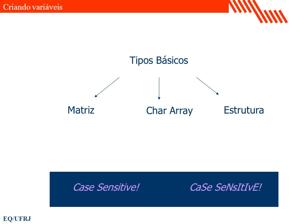 EQ/UFRJ Criando variáveis Char Array Matriz Tipos Básicos Case Sensitive! Estrutura CaSe SeNsItIvE!
