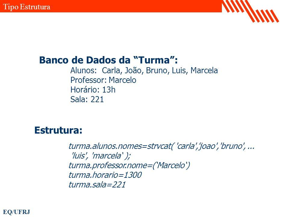 EQ/UFRJ Estrutura: turma.alunos.nomes=strvcat( 'carla',joao','bruno',... 'luis', 'marcela ); turma.professor.nome=(Marcelo) turma.horario=1300 turma.s