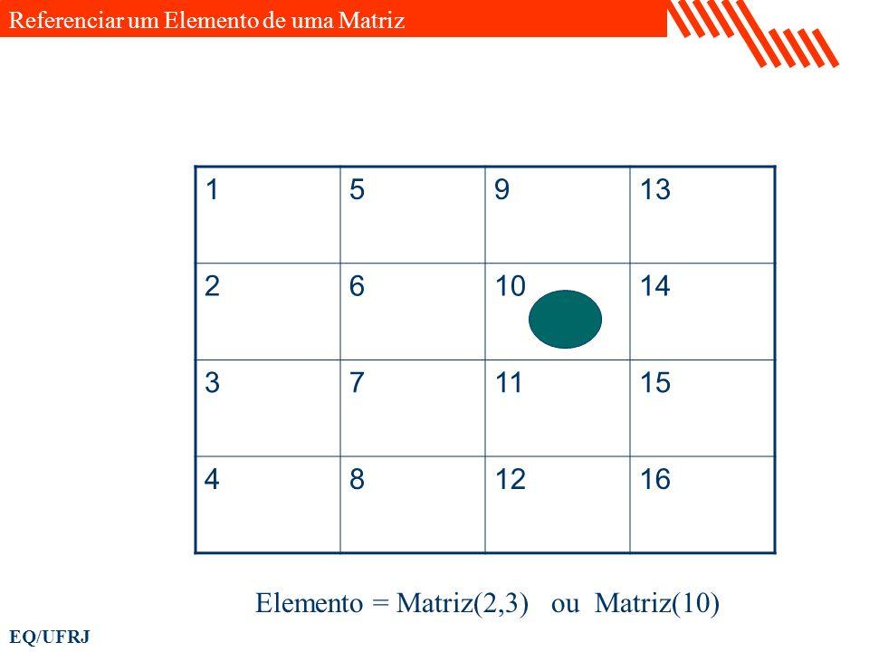 EQ/UFRJ 15913 261014 371115 481216 Elemento = Matriz(2,3) ou Matriz(10) Referenciar um Elemento de uma Matriz