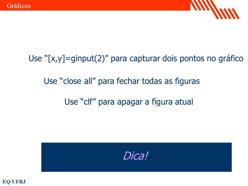 EQ/UFRJ Use close all para fechar todas as figuras Dica! Gráficos Use clf para apagar a figura atual Use [x,y]=ginput(2) para capturar dois pontos no