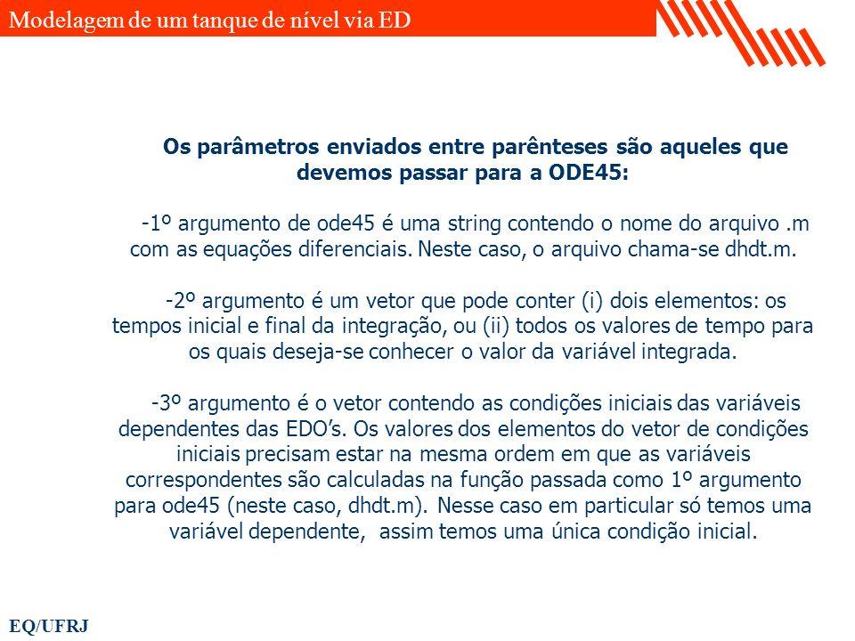 EQ/UFRJ Os parâmetros enviados entre parênteses são aqueles que devemos passar para a ODE45: -1º argumento de ode45 é uma string contendo o nome do ar